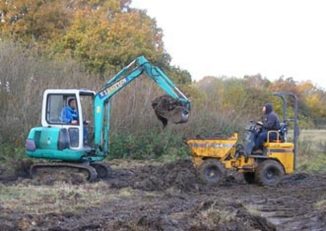 image with caption: Pond being created at Merrymeades funded by a 100% Fund award to Essex ARG