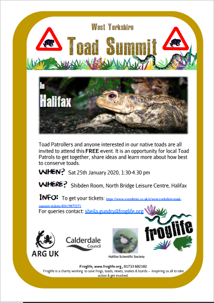 Froglife West Yorkshire Toad Summit 25.01.20
